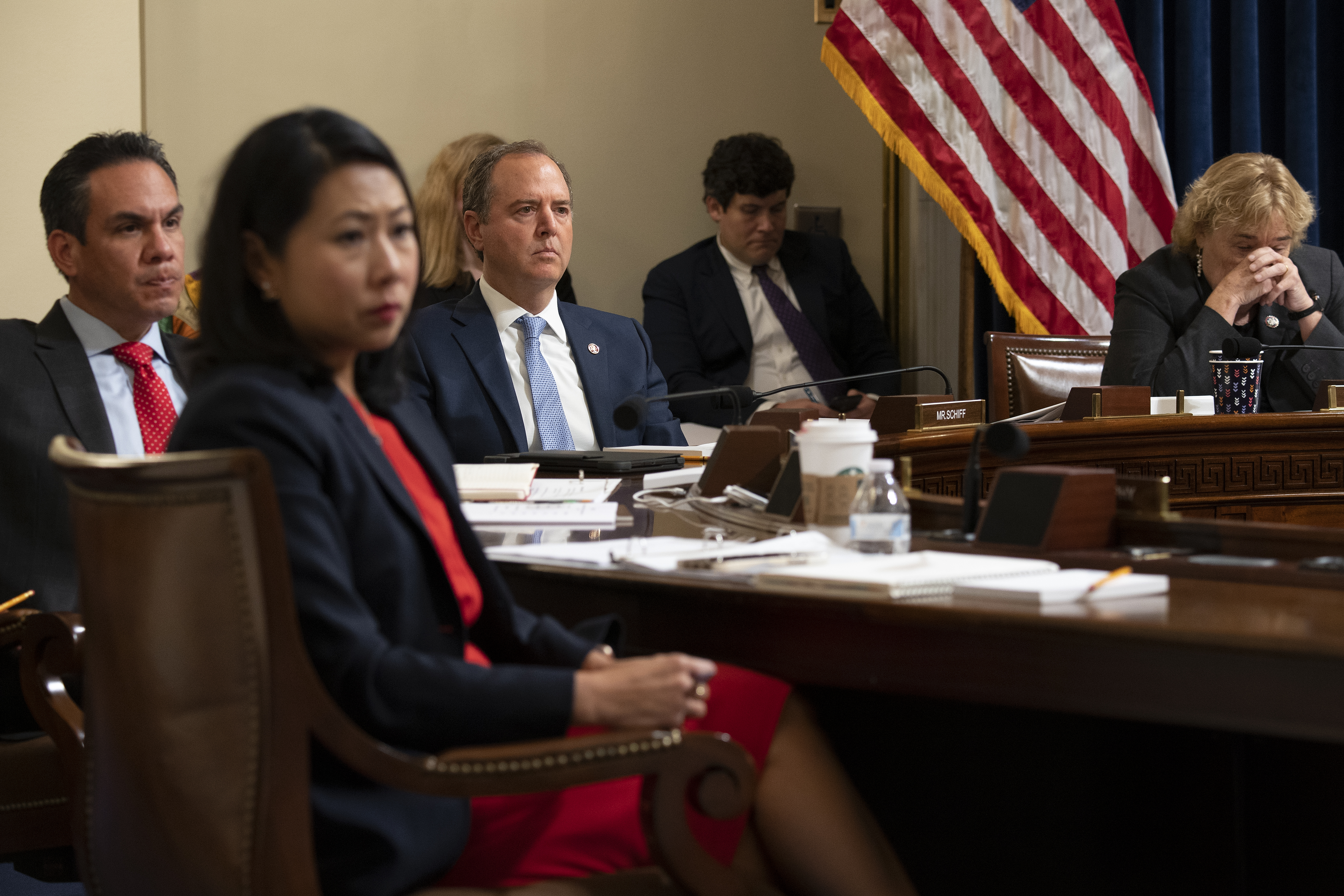 Rep. Pete Aguilar (D-Calif.), Rep. Stephanie Murphy (D-Fla.) Rep. Adam Schiff (D-Calif.), and Rep. Zoe Lofgren (D-Calif.) listen during a hearing of the House select committee at the Cannon House Office Building in Washington, D.C. (Photo by Brendan Smialowski-Pool/Getty Images)