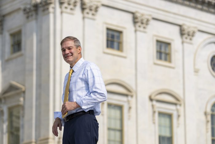 Rep. Jim Jordan (R-OHIO) stands outside the U.S. Capitol before a news conference with House Republicans in Washington, D.C. (Photo by Drew Angerer/Getty Images)