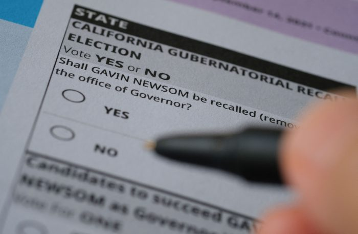 A ballot for a recall election seeking to remove California Governor Gavin Newsom (D) is seen in Los Angeles. (Photo by Chris DELMAS / AFP) (Photo by CHRIS DELMAS/AFP via Getty Images)