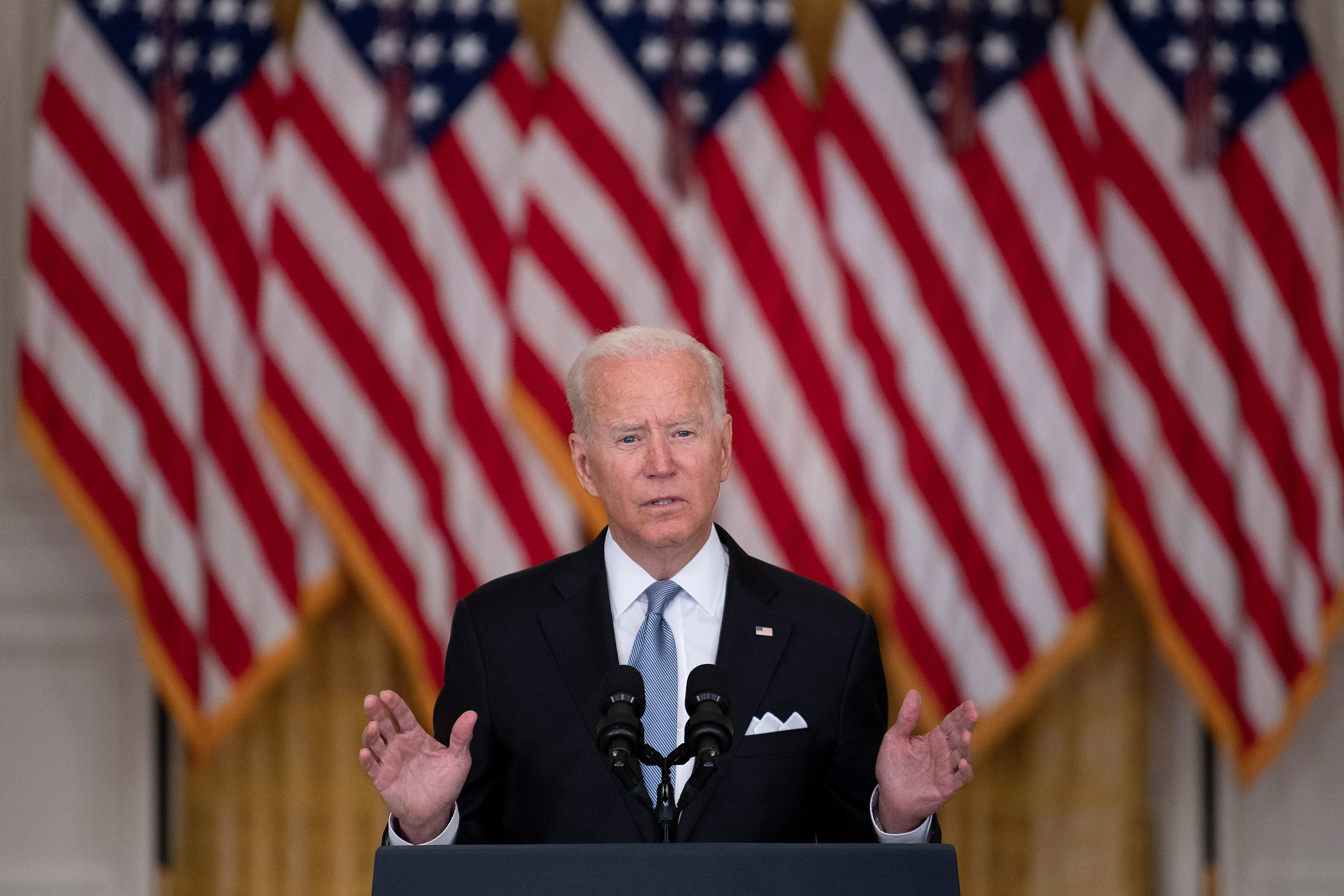 Joe Biden speaks about the Taliban's takeover of Afghanistan from the East Room of the White House in Washington, D.C. (Photo by BRENDAN SMIALOWSKI/AFP via Getty Images)