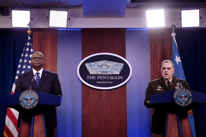 U.S. Defense Secretary Lloyd Austin, left, and Chairman of the Joint Chiefs of Staff, General Mark Milley, hold a press conference about the situation in Afghanistan at The Pentagon in Washington, DC. (Photo by OLIVIER DOULIERY/AFP via Getty Images)