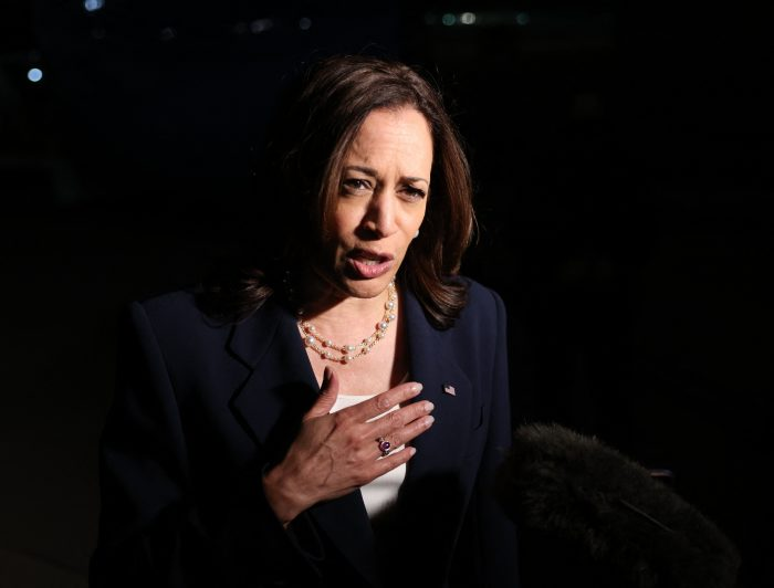 Kamala Harris speaks before departing for travel to Southeast Asia at Joint Base Andrews in Maryland. (Photo by EVELYN HOCKSTEIN/POOL/AFP via Getty Images)
