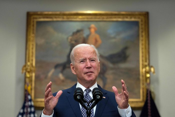 Joe Biden speaks about the ongoing evacuation of Afghanistan from the Roosevelt Room of the White House in Washington, D.C. (Photo by JIM WATSON / AFP) (Photo by JIM WATSON/AFP via Getty Images)