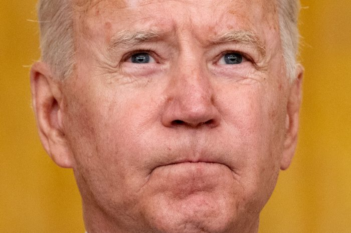 Joe Biden pauses as he delivers remarks on the terror attack at Hamid Karzai International Airport, and the US service members and Afghan victims killed and wounded, in the East Room of the White House, Washington, D.C .(Photo by JIM WATSON/AFP via Getty Images)