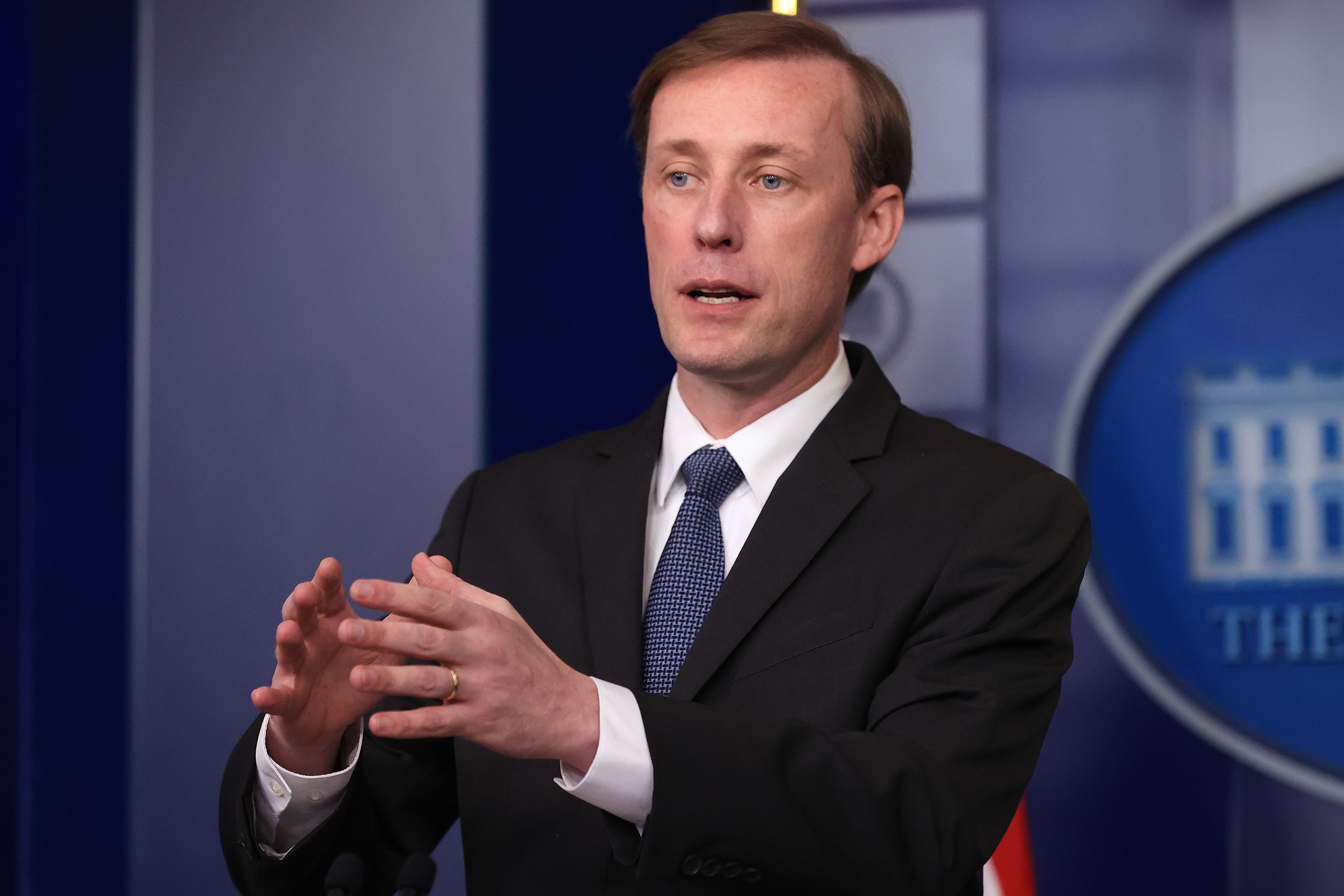 National Security Adviser Jake Sullivan talks to reporters during the daily news conference in the Brady Press Briefing Room at the White House in Washington, D.C. (Photo by Chip Somodevilla/Getty Images)