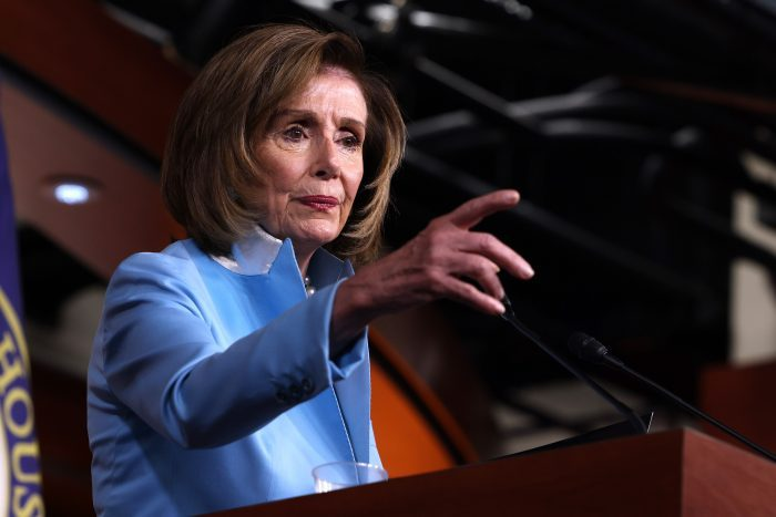 House Speaker Nancy Pelosi (D-Calif.) calls on a reporter at her weekly news conference at the Capitol building in Washington, D.C. (Photo by Anna Moneymaker/Getty Images)