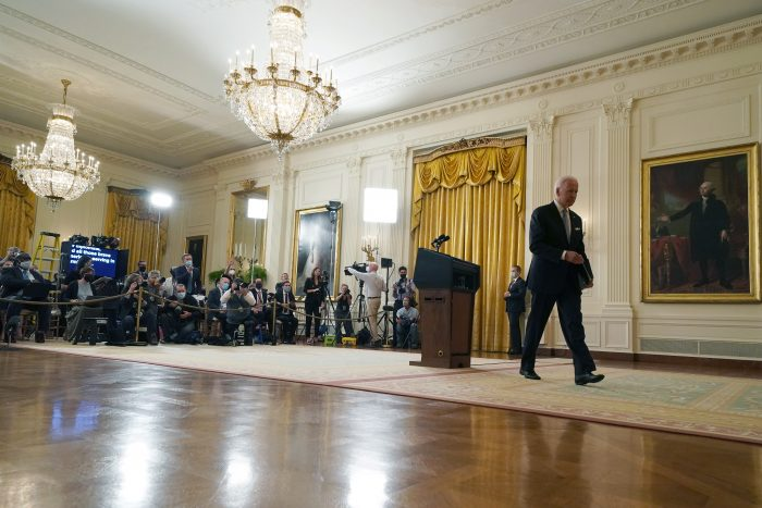 Joe Biden walks away without taking questions after delivering remarks on the worsening crisis in Afghanistan from the East Room of the White House in Washington, D.C. (Photo by Anna Moneymaker/Getty Images)