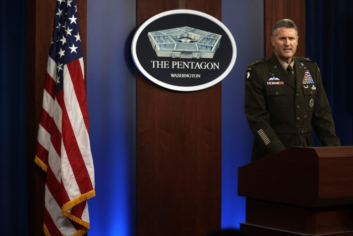 U.S. Army Major Gen. Hank Taylor, Joint Staff deputy director for regional operations, participates in a news briefing at the Pentagon in Arlington, Virginia. (Photo by Alex Wong/Getty Images)
