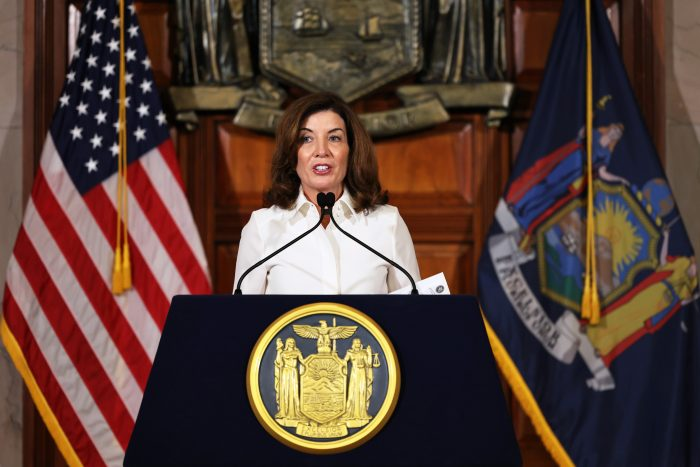 New York Gov. Kathy Hochul speaks after taking her ceremonial oath of office at the New York State Capitol in Albany, New York. (Photo by Michael M. Santiago/Getty Images)