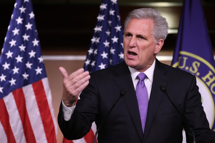 House Minority Leader Kevin McCarthy (R-Calif.) talks to reporters following a classified intelligence briefing by the Secretary of Defense and other Biden officials about the situation in Afghanistan at the U.S. Capitol in Washington, DC. (Photo by Chip Somodevilla/Getty Images)