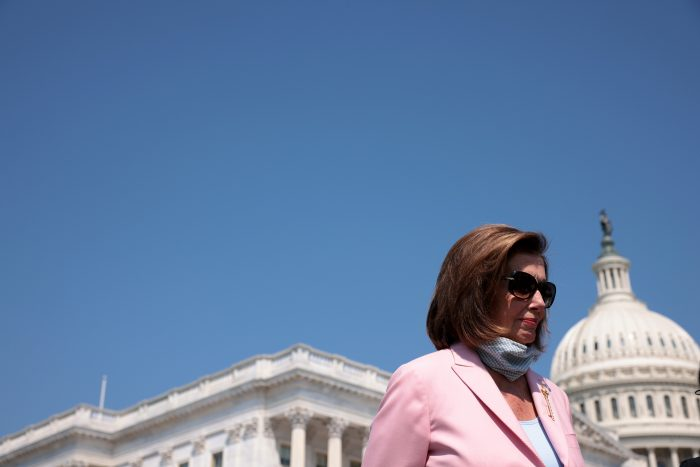 U.S. Speaker of the House Nancy Pelosi (D-Calif.) outside the U.S. Capitol in Washington, D.C. (Photo by Win McNamee/Getty Images)