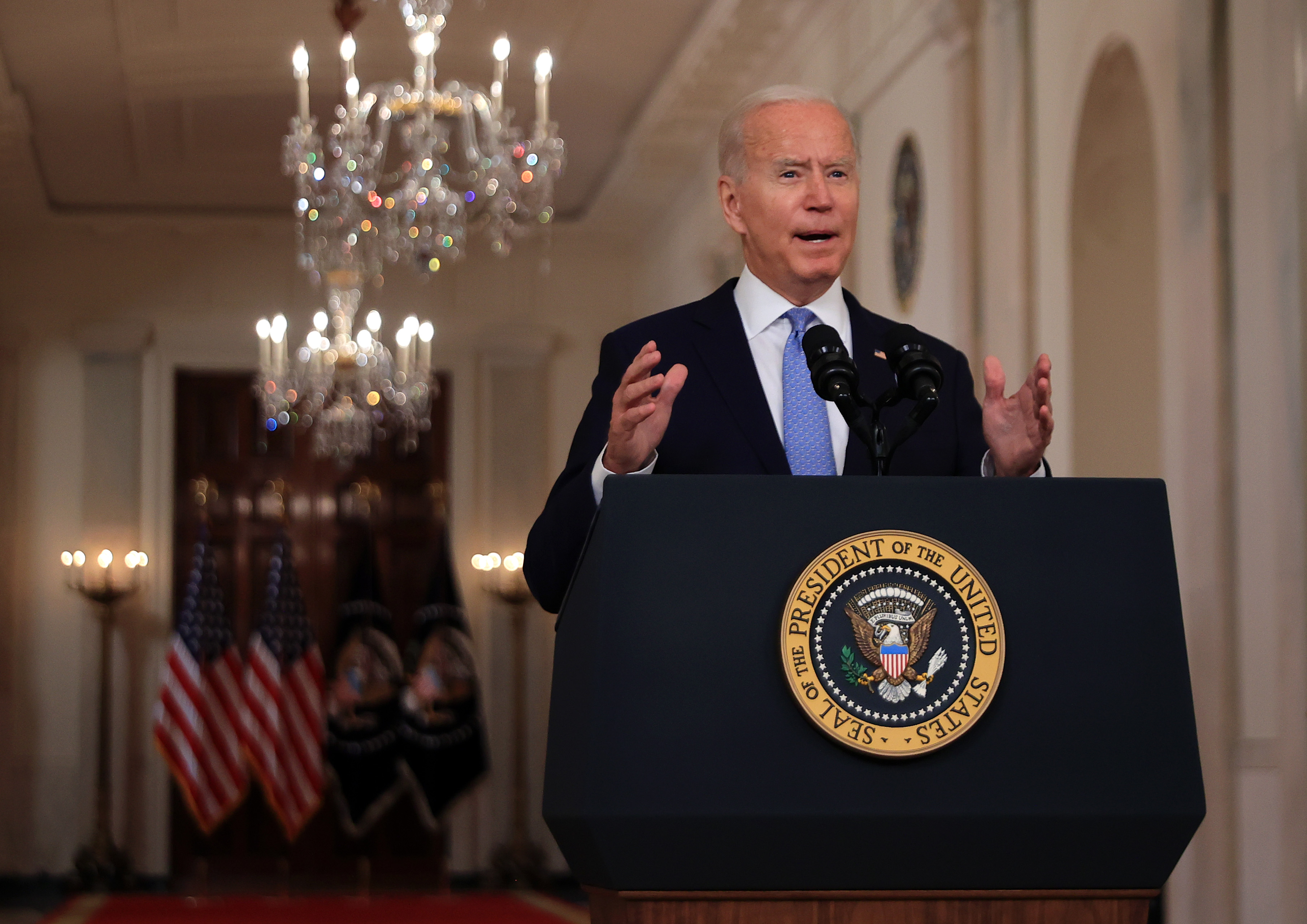 Joe Biden delivers remarks on the end of the war in Afghanistan in the State Dining Room at the White House on August 31, 2021 in Washington, D.C. (Photo by Chip Somodevilla/Getty Images)