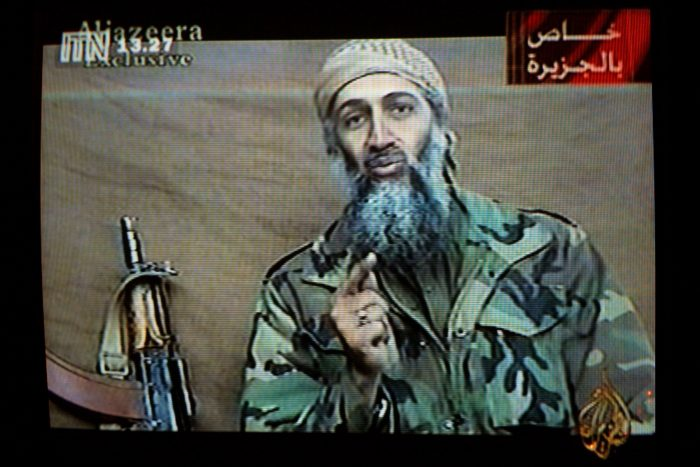 A videotape released by Al-Jazeera TV featuring Osama Bin Laden broadcasted in Britain. (Photo by Getty Images)
