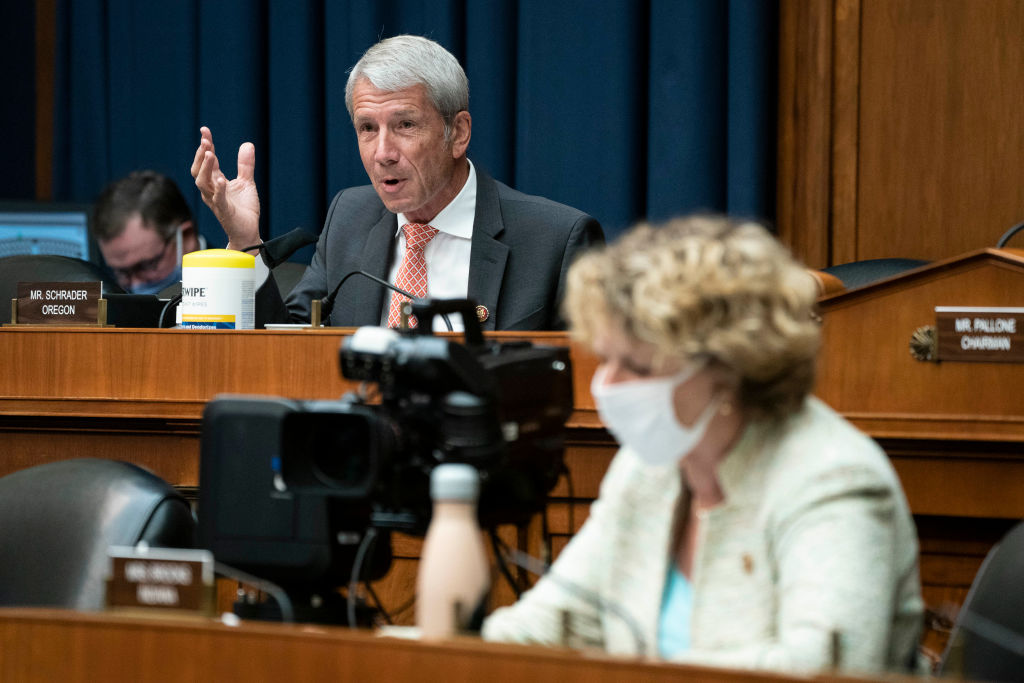 WASHINGTON, DC - JUNE 23: Representative Kurt Schrader, a Democrat from Oregon, questions witnesses during a hearing of the House Committee on Energy and Commerce on Capitol Hill on June 23, 2020 in Washington, DC. The committee is investigating the Trump administration's response to the COVID-19 pandemic. (Photo by Sarah Silbiger-Pool/Getty Images