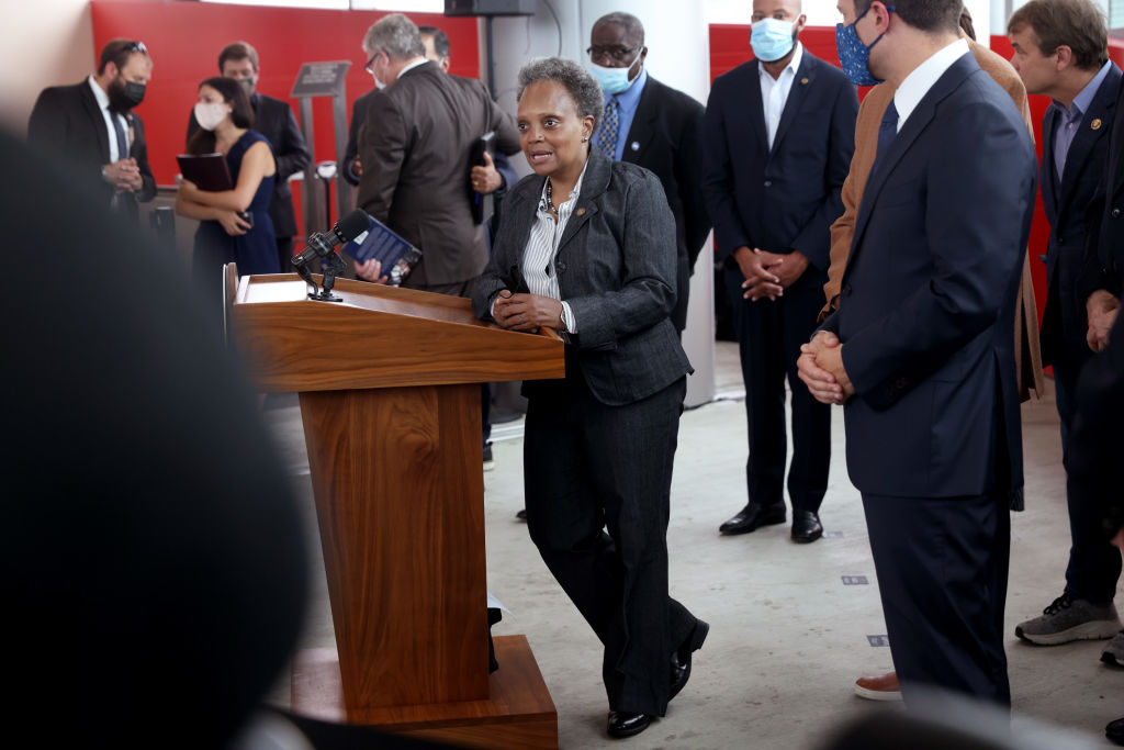 CHICAGO, ILLINOIS - JULY 16: Chicago Mayor Lori Lightfoot takes a question during a press conference with Transportation Secretary Pete Buttigieg during a visit to a commuter transportation hub on July 16, 2021 in Chicago, Illinois. Buttigieg was in town to rally support for President Biden's $1.2 trillion roads and bridges infrastructure plan. (Photo by Scott Olson/Getty Images)