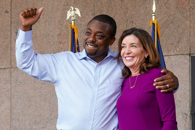New York State Governor Kathy Hochul and State Senator Brian Benjamin attend a press conference announcing State Senator Brian Benjamin as Lt. Governor in New York City. Senator Benjamin,