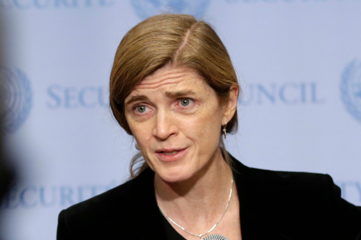 """United States Ambassador to the United Nations Samantha Power speaks to reporters after a Security Council meeting at U.N. headquarters. Power is writing a memoir about her transition from Pulitzer Prize-winning critic of foreign policy to a leading government official. Dey Street Books, an imprint of HarperCollins Publishing, told The Associated Press on Tuesday, April 25, 2017, that it had acquired Power's """"The Education of an Idealist."""" (AP Photo/Seth Wenig, File)"""