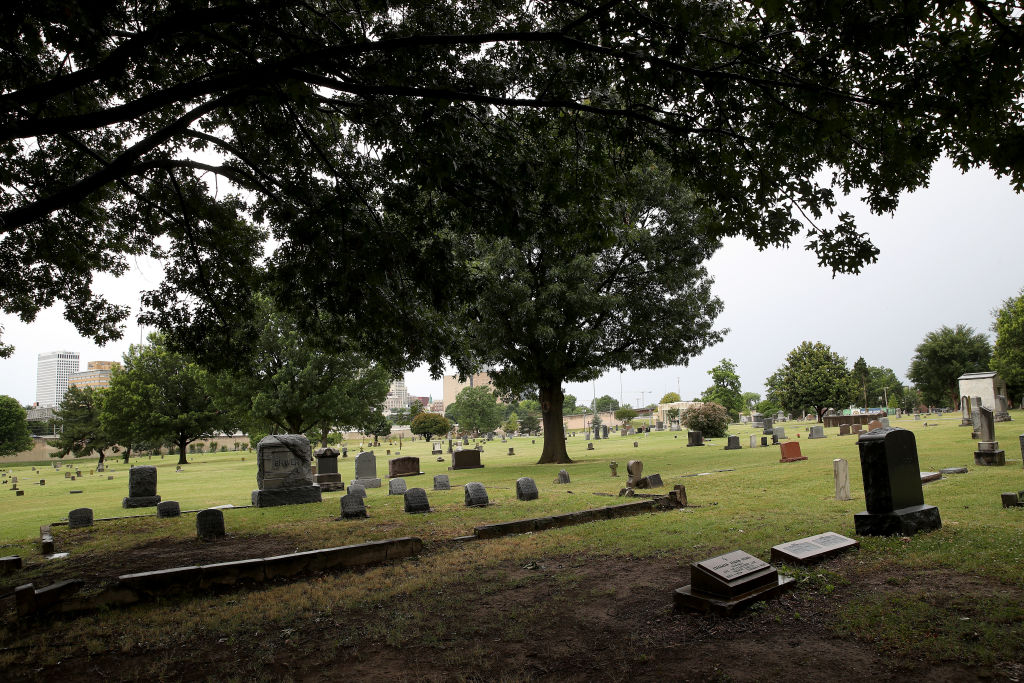 TULSA, OKLAHOMA - JUNE 19: The Oaklawn Cemetery is seen on June 19, 2020 in Tulsa, Oklahoma. Tulsa Mayor G.T. Bynum recently announced that archaeologists will soon excavate a portion of the cemetery in an effort to locate remains of Black residents who were killed during the Black Wall Street Massacre of 1921. (Photo by Win McNamee/Getty Images)