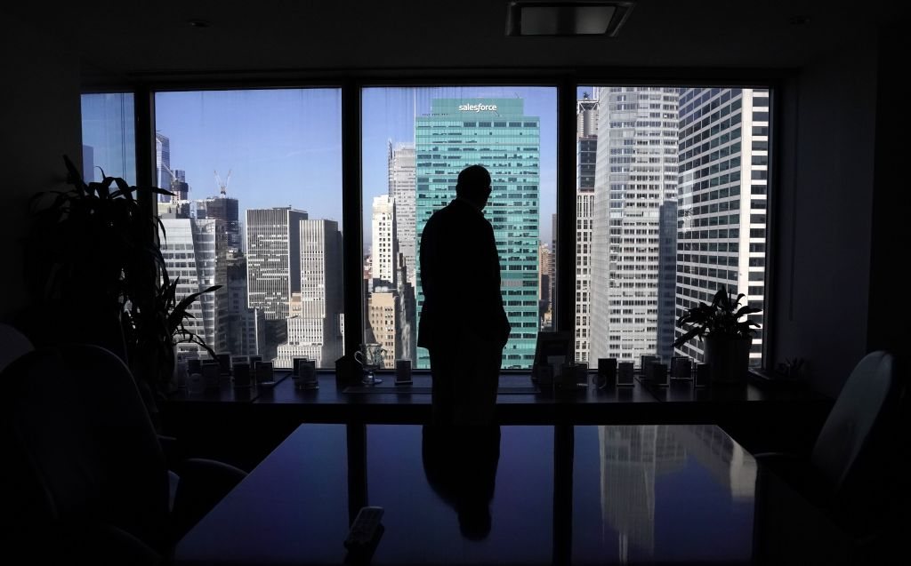 Daniel Alpert, managing partner of Westwood Capital, is seen in his office on Fifth Avenue in New York October 15, 2020. - The life of a Wall Street trader was once one of business trips and work dinners, but now it is anything but. The culprit, as with so many of the economic and financial disruptions the United States has faced over the past months, is the coronavirus pandemic, which has rendered life for the brokers, bankers and businessmen fueling the world's largest economy much more lonely. (Photo by TIMOTHY A. CLARY / AFP) (Photo by TIMOTHY A. CLARY/AFP via Getty Images)