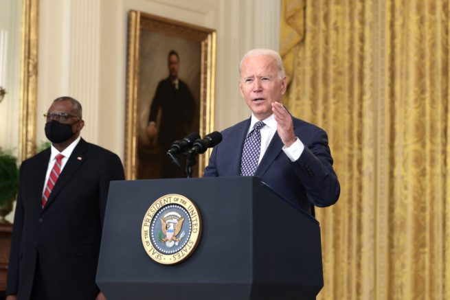 WASHINGTON, DC - AUGUST 20: U.S. President Joe Biden gestures as delivers remarks on the U.S. military's ongoing evacuation efforts in Afghanistan from the East Room of the White House on August 20, 2021 in Washington, DC. The White House announced earlier that the U.S. has evacuated almost 14,000 people from Afghanistan since the end of July. (Photo by Anna Moneymaker/Getty Images)