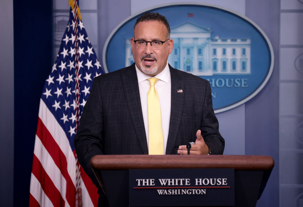 WASHINGTON, DC - AUGUST 05: Secretary of Education Dr. Miguel Cardona answers questions during the daily briefing at the White House August 5, 2021 in Washington, DC. Cardona answered a range of questions related to schoolchildren returning to schools in the fall. (Photo by Win McNamee/Getty Images)