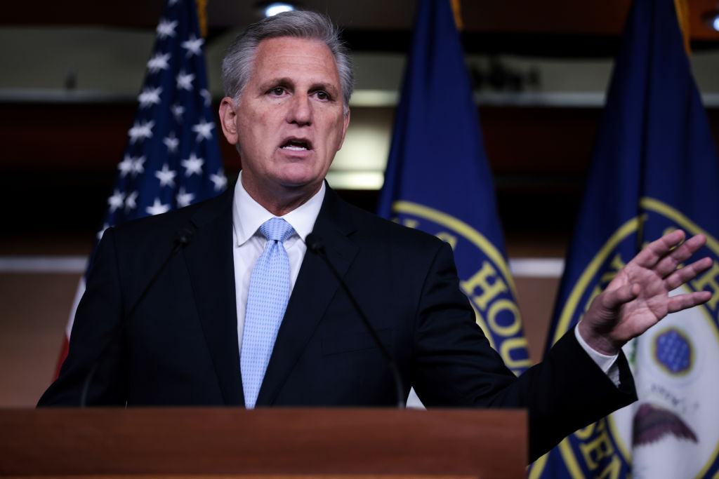 WASHINGTON, DC - AUGUST 27: House Minority Leader Kevin McCarthy (R-CA) gestures as he speaks at a press conference at the Capitol building on August 27, 2021 in Washington, DC. Leader McCarthy said he wants House Speaker Nancy Pelosi (D-CA) to call Congress back in session and to take up legislation that would prevent President Biden from withdrawing troops until every U.S. Citizen is out of Afghanistan. (Photo by Anna Moneymaker/Getty Images)