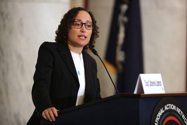 WASHINGTON, DC - NOVEMBER 13: U.S. Commission on Civil Rights Chair Catherine Lhamon addresses a post-midterm election meeting of Rev. Al Sharpton's National Action Network in the Kennedy Caucus Room at the Russell Senate Office Building on Capitol Hill November 13, 2018 in Washington, DC. Politicians believed to be considering a run for the 2020 Democratic party nomination, including Harris and Sen. Elizabeth Warren (D-MA), addressed the network meeting as well as House members vying for leadership positions. (Photo by Chip Somodevilla/Getty Images)