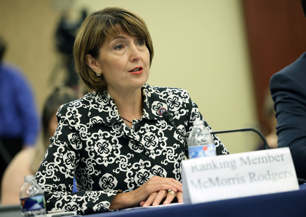 WASHINGTON, DC - JUNE 29: U.S. Rep. Cathy McMorris Rodgers (R-WA) testifies during a Republican-led forum on the origins of the COVID-19 virus at the U.S. Capitol on June 29, 2021 in Washington, DC. The forum examined the theory that the coronavirus came from a lab in Wuhan, China. (Photo by Kevin Dietsch/Getty Images)
