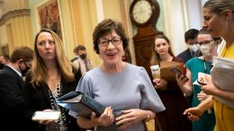 WASHINGTON, DC - JULY 28: Sen. Susan Collins (R-ME) walks to the Senate floor after speaking to reporters after meeting privately with Senate Minority Leader Mitch McConnell (R-KY) at the U.S. Capitol on July 28, 2021 in Washington, DC. The group told reporters that they now have an agreement with Senate Democrats on the major issues of the bill. (Photo by Drew Angerer/Getty Images)