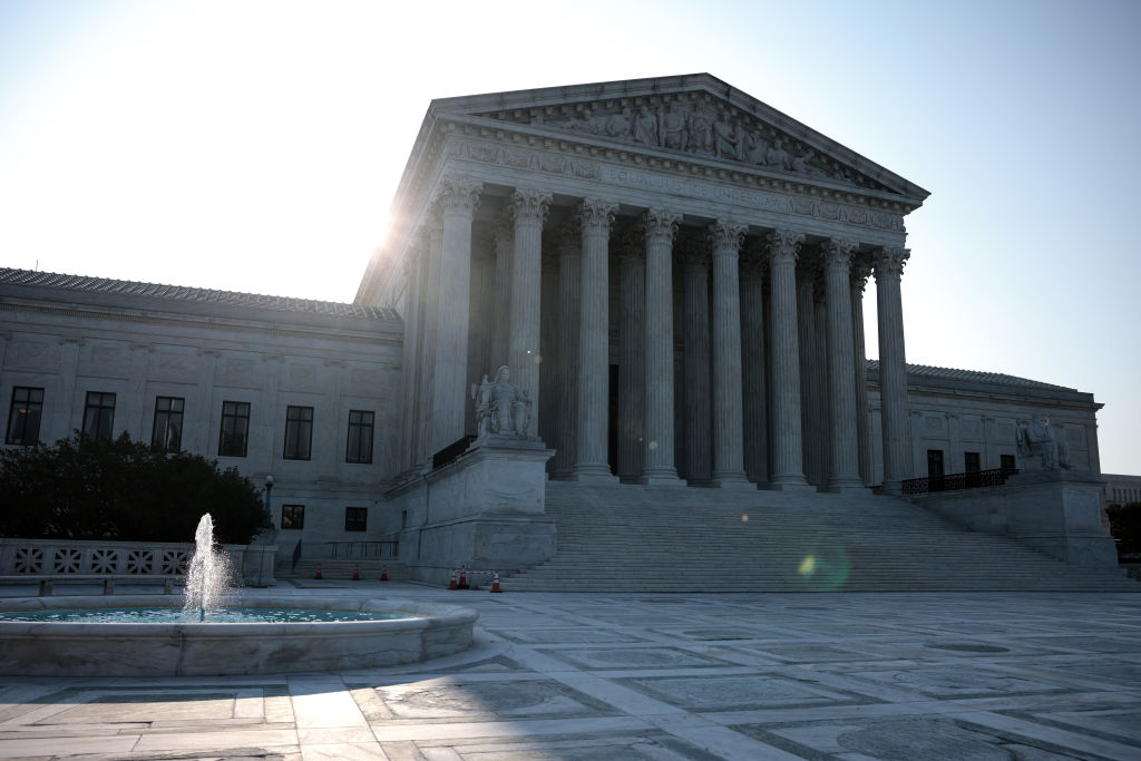 WASHINGTON, DC - AUGUST 27: The sun rises behind U.S. Supreme Court building on August 27, 2021 in Washington, DC. Yesterday the Supreme Court released a ruling blocking President Joe Biden's latest Covid-19 related eviction moratorium in a 6-3 decision. (Photo by Anna Moneymaker/Getty Images)