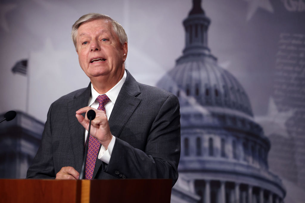 WASHINGTON, DC - JULY 30: U.S. Sen. Lindsey Graham (R-SC) speaks on southern border security and illegal immigration, during a news conference at the U.S. Capitol on July 30, 2021 in Washington, DC. Graham urged the Biden administration to name former Homeland Security Secretary Jeh Johnson as a border czar. (Photo by Kevin Dietsch/Getty Images)