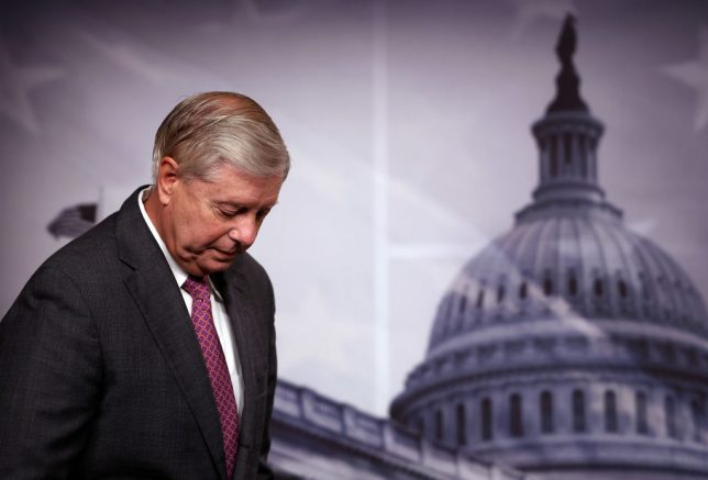 WASHINGTON, DC - JULY 30: U.S. Sen. Lindsey Graham (R-SC) attends a news conference on southern border security and illegal immigration, at the U.S. Capitol on July 30, 2021 in Washington, DC. Graham urged the Biden administration to name former Homeland Security Secretary Jeh Johnson as a border czar. (Photo by Kevin Dietsch/Getty Images)