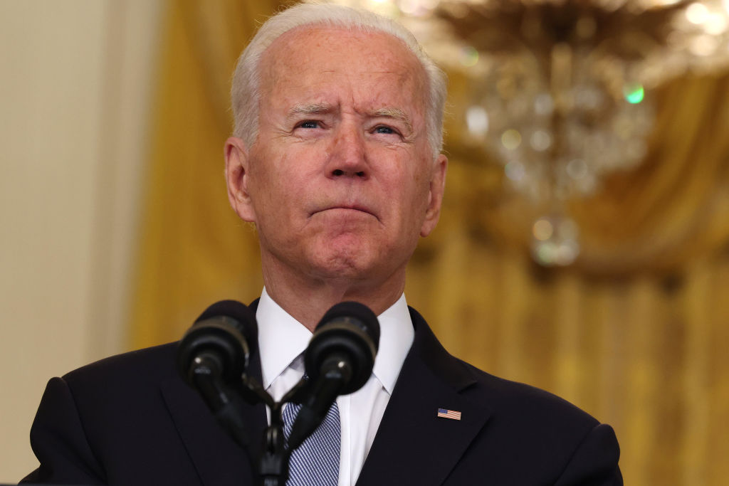 WASHINGTON, DC - AUGUST 16: U.S. President Joe Biden pauses while giving remarks on the worsening crisis in Afghanistan from the East Room of the White House August 16, 2021 in Washington, DC. Biden cut his vacation in Camp David short to address the nation as the Taliban have seized control in Afghanistan two weeks before the U.S. is set to complete its troop withdrawal after a costly two-decade war. (Photo by Anna Moneymaker/Getty Images)