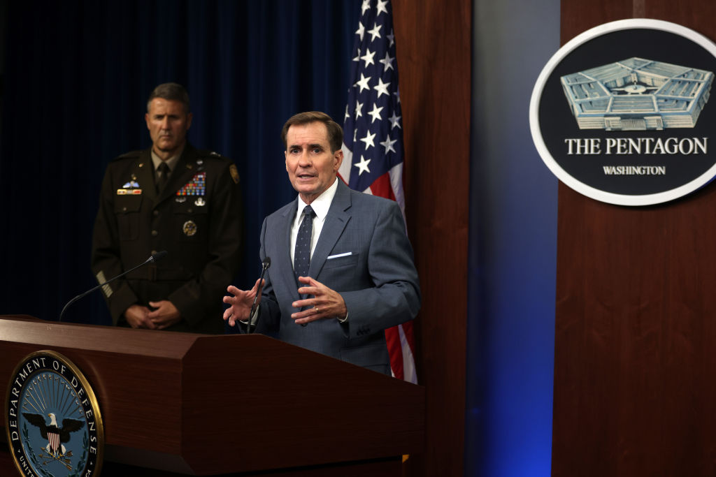 ARLINGTON, VIRGINIA - AUGUST 17: U.S. Department of Defense Press Secretary John Kirby (R) speaks as Army Major General William Taylor (L) listens during a news briefing at the Pentagon August 17, 2021 in Arlington, Virginia. Kirby held a news briefing to discuss the current situation in Afghanistan after the Taliban took control of the capital city of Kabul. (Photo by Alex Wong/Getty Images)