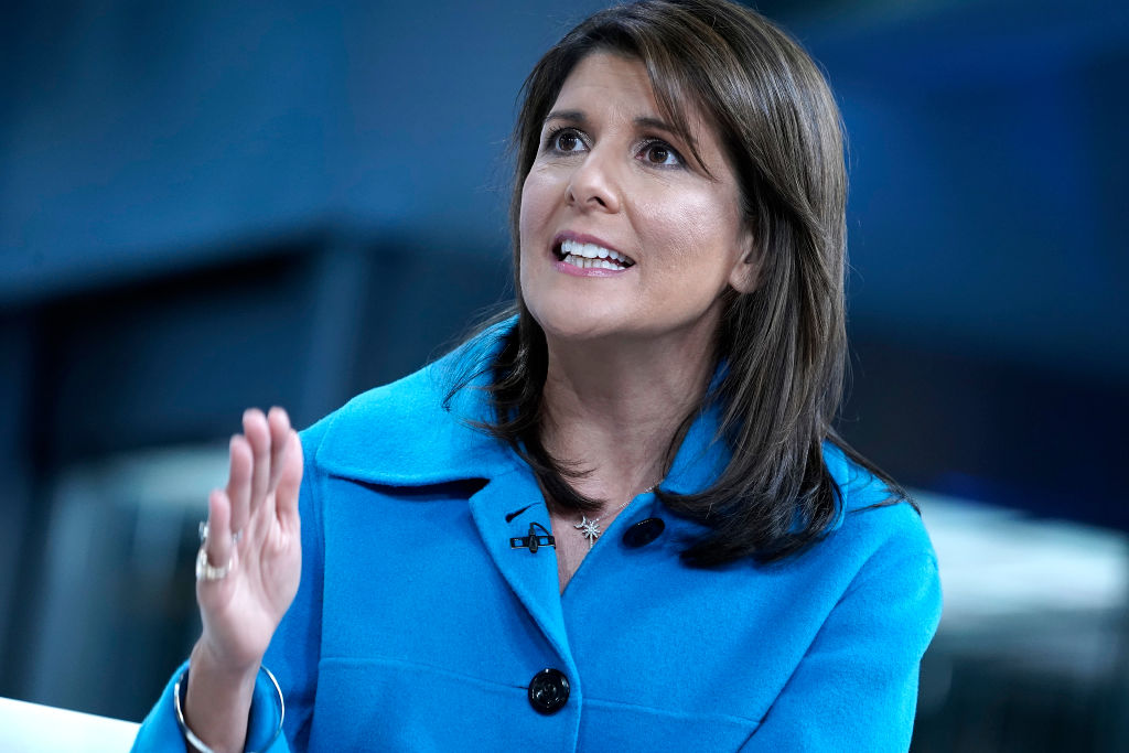 """NEW YORK, NEW YORK - NOVEMBER 12: (EXCLUSIVE COVERAGE) Former UN Ambassador ( R) Nikki Haley visits """"Fox & Friends"""" at Fox News Channel Studios on November 12, 2019 in New York City. (Photo by John Lamparski/Getty Images)"""