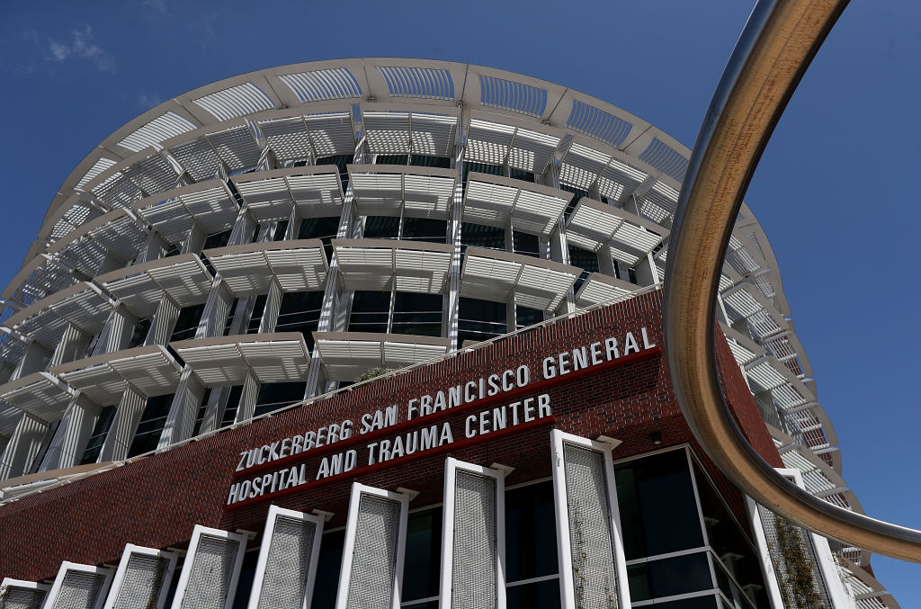 SAN FRANCISCO, CA - MAY 16: A view of the Zuckerberg San Francisco General Hospital and Trauma Center on May 16, 2018 in San Francisco, California. In the wake of widespread data breaches at Facebook, patients and nurses at Zuckerberg San Francisco General Hospital and Trauma Center are fearing for their privacy at the hospital. San Francisco General Hospital changed its name to Zuckerberg San Francisco General in 2015 after Facebook CEO Mark Zuckerberg and his wife Priscilla Chan donated $75 million to the 147-year-old institution. (Photo by Justin Sullivan/Getty Images)