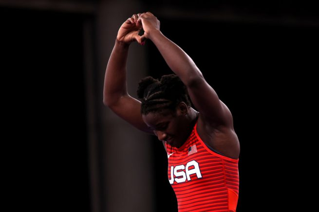 CHIBA, JAPAN - AUGUST 02: Tamyra Mariama Mensah-Stock of Team United States reacts after her victory against Sara Dosho of Team Japan during the Women's Freestyle 68kg 1/8 Final on day ten of the Tokyo 2020 Olympic Games at Makuhari Messe Hall on August 02, 2021 in Chiba, Japan. (Photo by Tom Pennington/Getty Images)