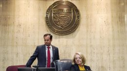 Arizona Senate President Karen Fann, right, is joined by Sen. Warren Petersen, prior to the Arizona Senate Republican hearing on the review findings of the 2020 election results in Maricopa County at the Arizona Capitol, Friday, Sept. 24, 2021, in Phoenix. (AP Photo/Ross D. Franklin)