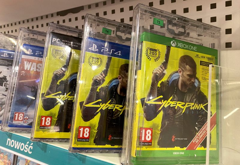 FILE PHOTO: Boxes with CD Projekt's game Cyberpunk 2077 are displayed in Warsaw