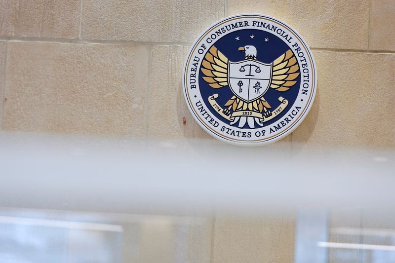 The seal of the Consumer Financial Protection Bureau (CFPB) is seen at their headquarters in Washington, D.C.