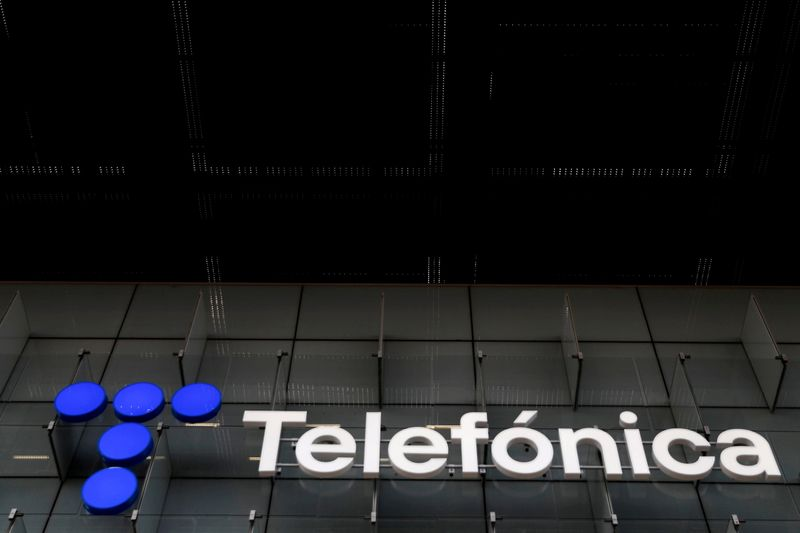 FILE PHOTO: The logo of Spanish Telecom company Telefonica is seen in Madrid