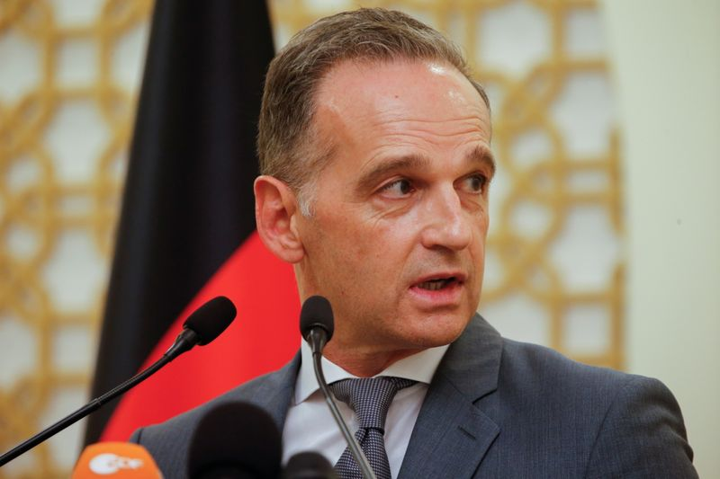 German Foreign Minister Heiko Maas speaks during a news conference in Doha, Qatar