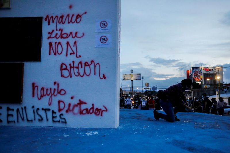 Protest against the use of Bitcoin as legal tender in San Salvador