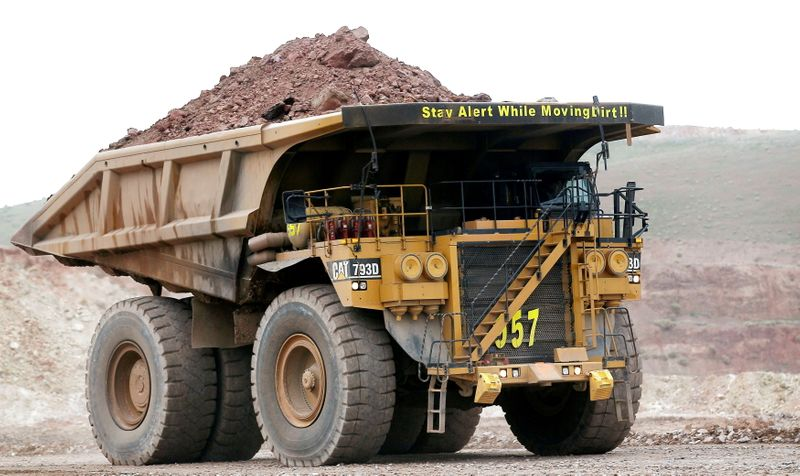 FILE PHOTO: A haul truck carries a full load at a mine operation near Elko, Nevada