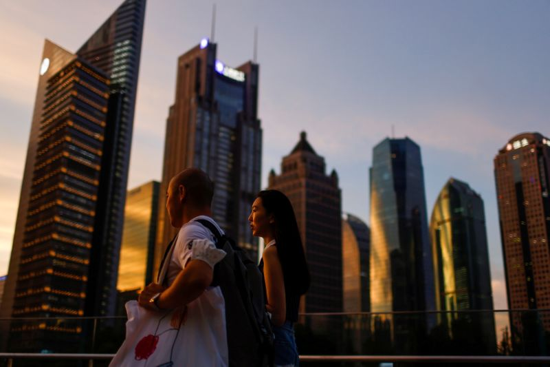 FILE PHOTO: Lujiazui financial district during sunset in Pudong, Shanghai
