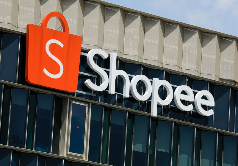 FILE PHOTO: A signage of Shopee, the e-commerce arm of Sea Ltd, is pictured at its office in Singapore