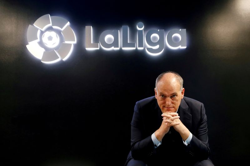 FILE PHOTO: La Liga President Javier Tebas poses before an online interview with Reuters at the La Liga headquarters in Madrid