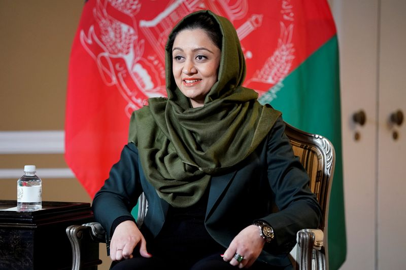 FILE PHOTO: Afghan Ambassador to the United States Roya Rahmani speaks during an interview with Reuters in Washington