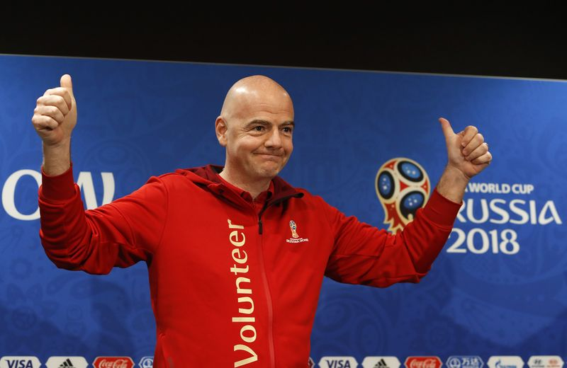 FIFA President Infantino attends a news conference at the Luzhniki Stadium in Moscow