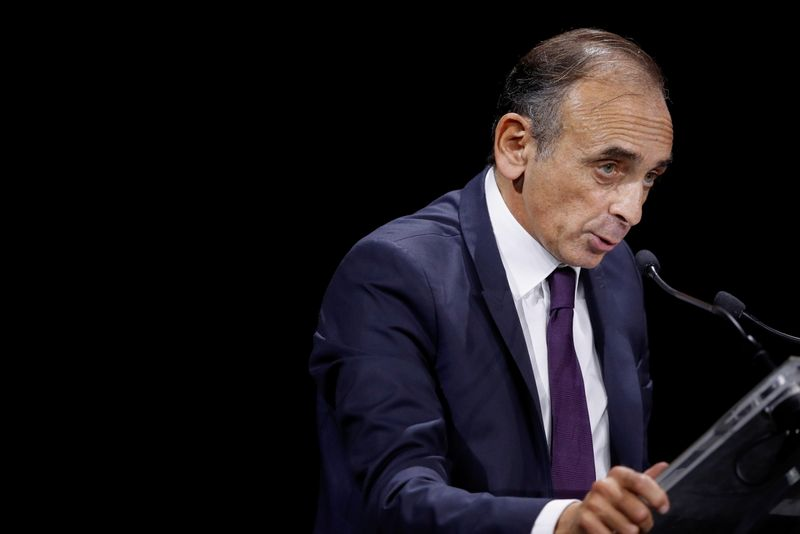 FILE PHOTO: French political columnist Eric Zemmour delivers a speech in Paris